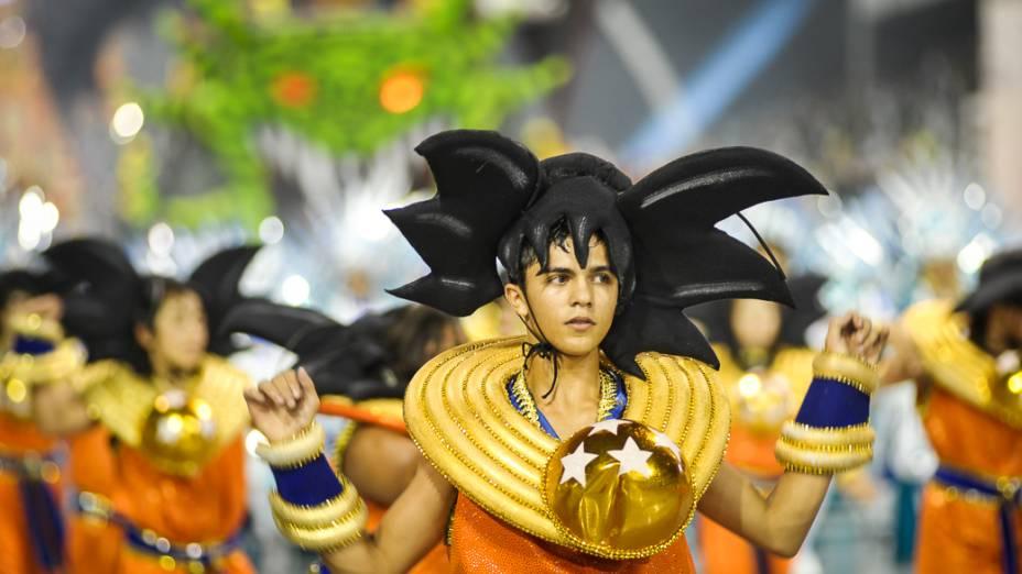 Desfile da Dragões da Real no sambódromo do Anhembi