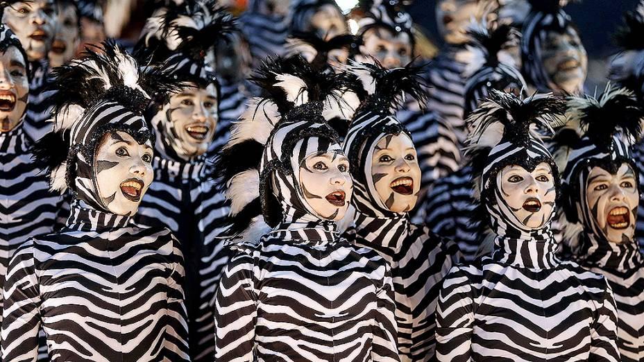 Desfile do Salgueiro pelo Grupo Especial do Carnaval do Rio de Janeiro, na Marquês de Sapucaí