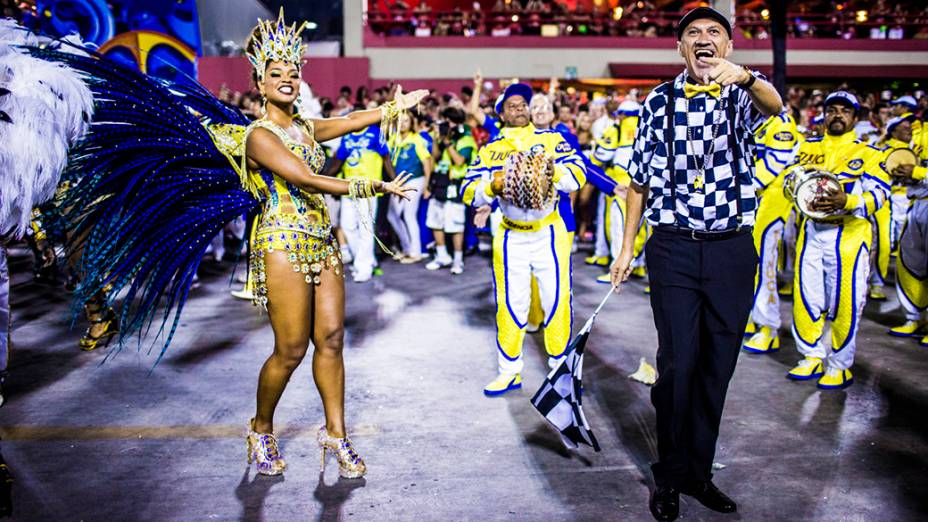 A rainha de bateria Juliana Alves durante desfile da campeã Unidos Tijuca, na Marquês de Sapucaí