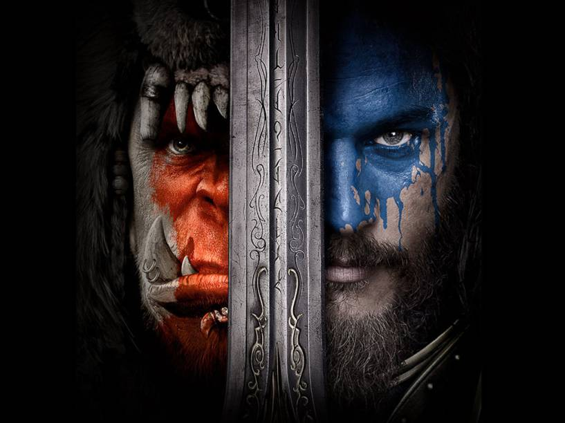 Cartaz do filme Warcraft - O Primeiro Encontro de Dois Mundos, que m ostra a separação entre a Horda e a Aliança