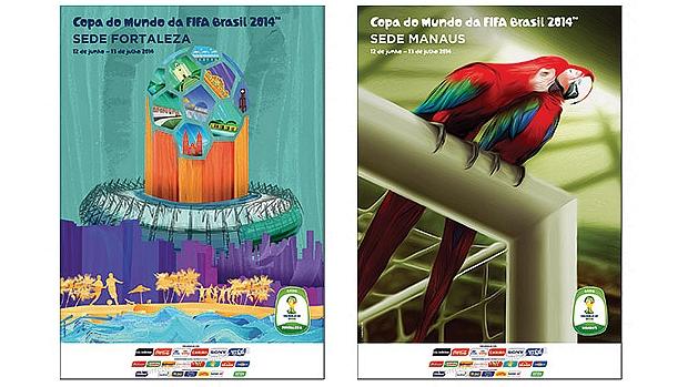 Cartazes de Fortaleza e Manaus