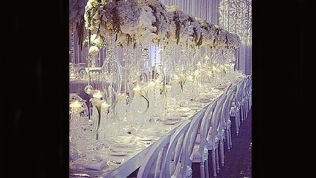 Detalhe da decoração do casamento de Kim Kardashian e Kanye West