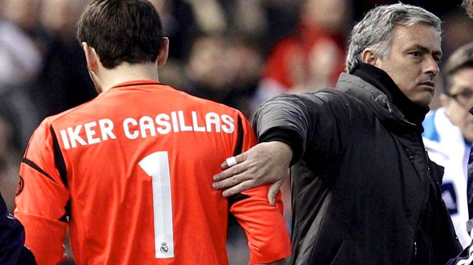 O goleiro Casillas e o técnico do Real Madrid, José Mourinho: crise no vestiário