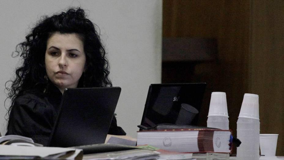 A advogada de Lindemberg Alves, Ana Lúcia Assad no tribunal do fórum de Santo André durante o quarto dia de julgamento de Lindemberg Alves Fernandes