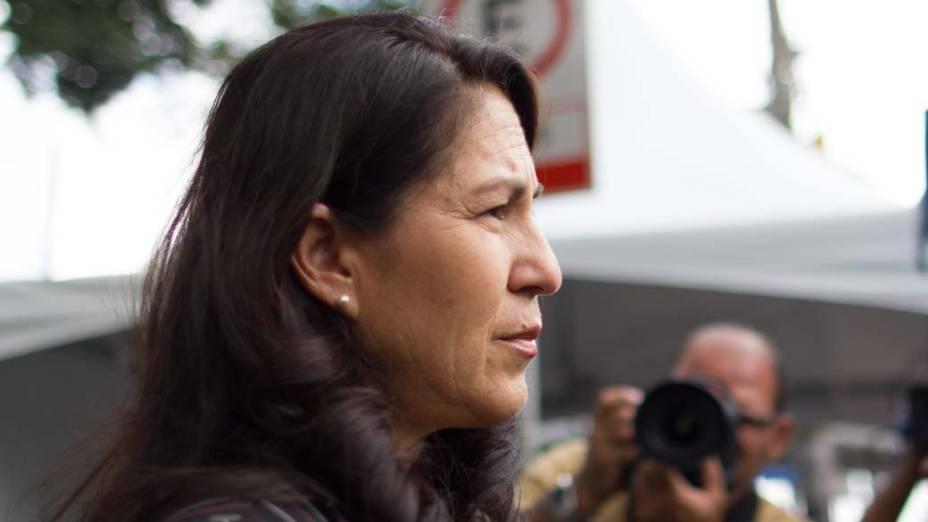 Sonia Samudio, mãe de Eliza Samudio no Fórum de Contagem, em 06/03/2013