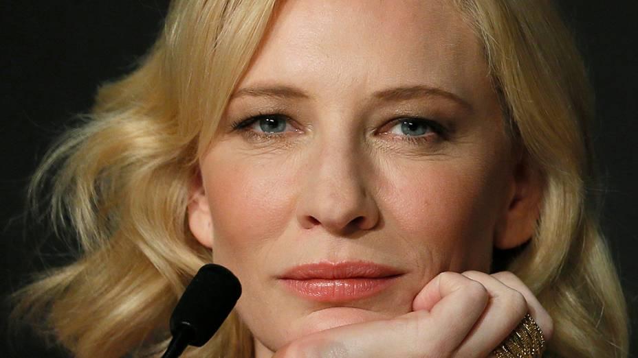 A atriz Cate Blanchett durante a coletiva de imprensa do filme Como Treinar o seu Dragão no 67º Festival de Cinema de Cannes