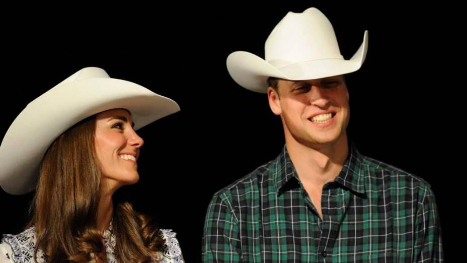 Catherine e príncipe William, duquesa e duque de Cambridge, durante uma demonstração de rodeio na cidade canadense de Calgary