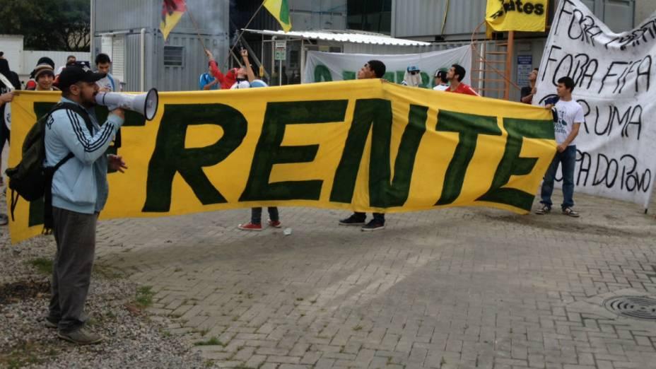 Protesto na sede da CBF, no Rio de Janeiro