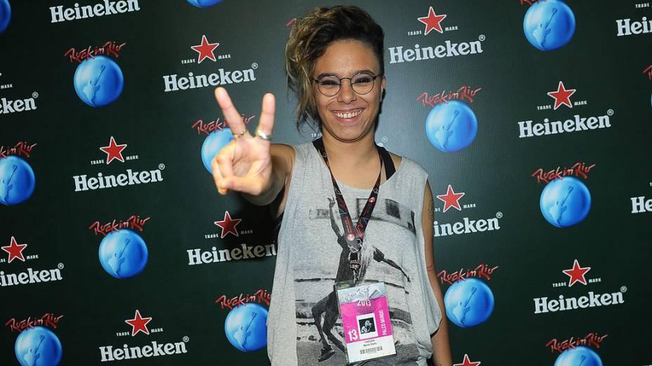 Maria Gadú no camarote Heineken na Cidade do Rock
