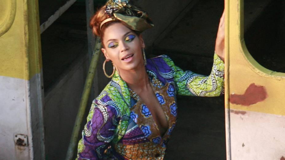 Beyoncé durante gravação de videoclipe no Rio