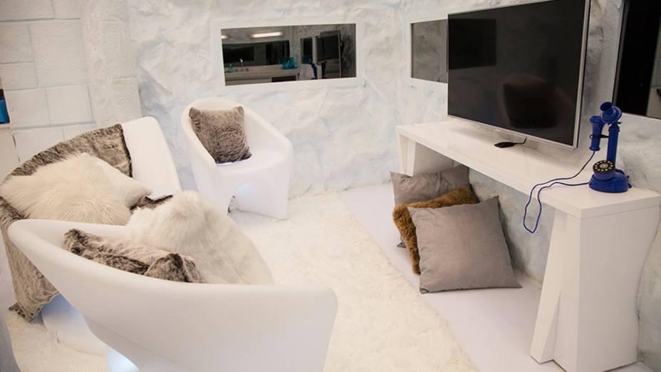 Decoração da sala no ambiente Sibéria na casa do BBB 14