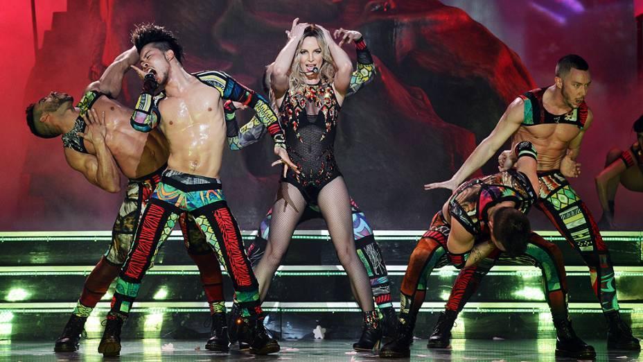 Britney Spears durante ensaio do espetáculo Piece of Me, no Planet Hollywood Resort & Casino, em Las Vegas