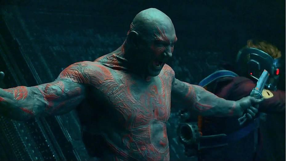 O personagem Drax, de Guardiões da Galáxia, interpretado pelo ator Dave Bautista