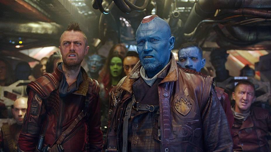 Os atores Sean Gunn e Michael Rooker em cena do filme Guardiões da Galáxia