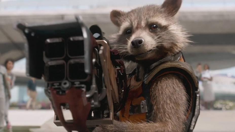 Personagem Rocket de Guardiões da Galáxia, dublado pelo ator Bradley Cooper