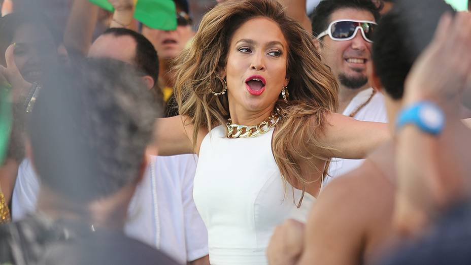 Jennifer Lopez durante as gravações do clipe We Are One, que será tema da Copa do Mundo