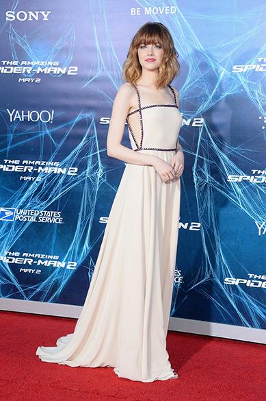 Emma Stone durante première do filme O Espetacular Homem-Aranha 2 em Nova Iorque