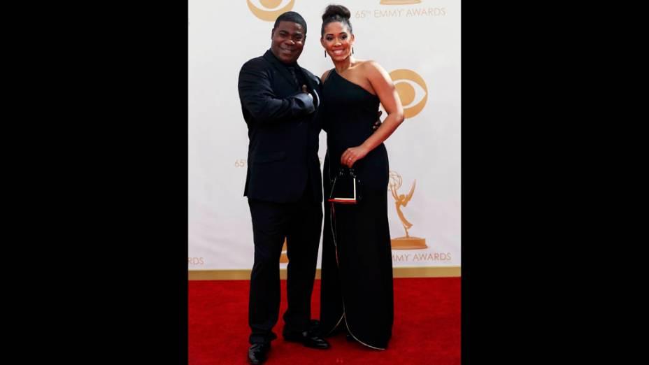 Ator Tracy Morgan da série 30 Rock, chega com sua mulher para a premiação do Emmy, em Los Angeles