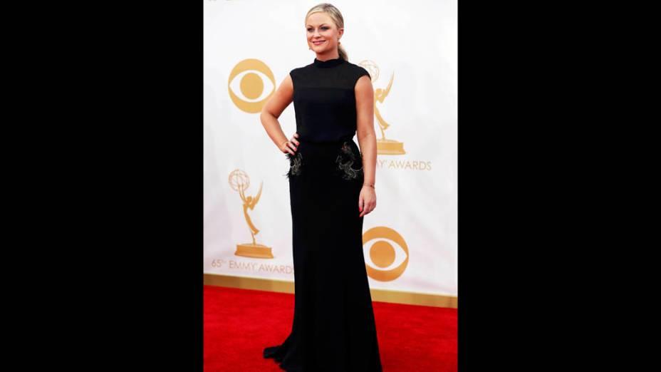 Atriz Amy Poelher da série Parks and Recreation, chega para a premiação do Emmy, em Los Angeles