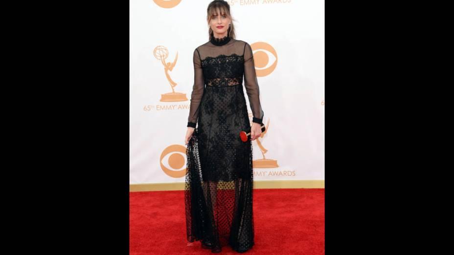 Atriz Amanda Peet chega para a premiação do Emmy, em Los Angeles