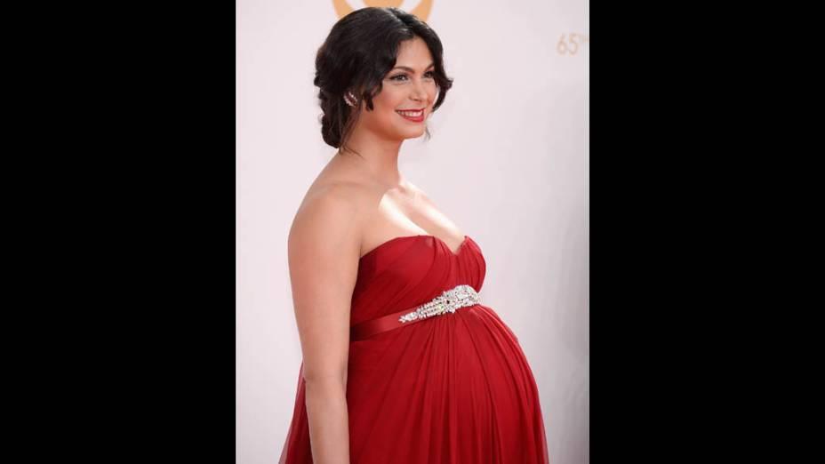 Atriz Morena Baccarin chega para a premiação do Emmy, em Los Angeles