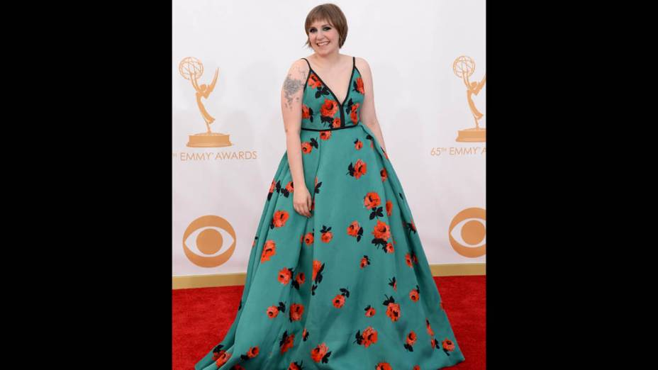 Atriz Lena Dunham da série Girls, chega para a premiação do Emmy, em Los Angeles