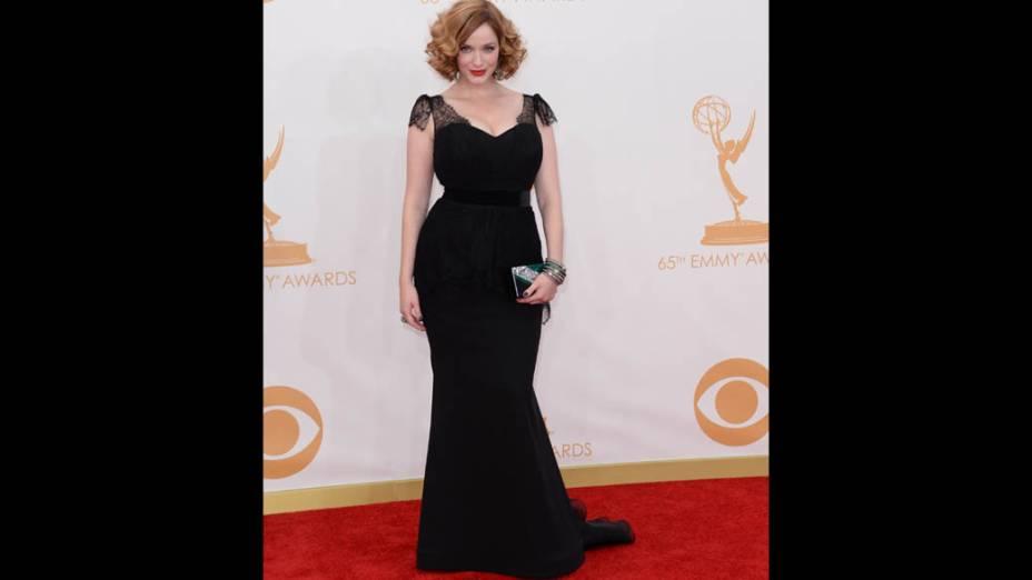 Atriz Christina Hendricks da série Mad Men, chega para a premiação do Emmy, em Los Angeles