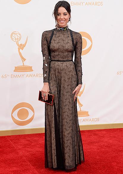 Atriz Aubrey Plaza, chega para a premiação do Emmy, em Los Angeles