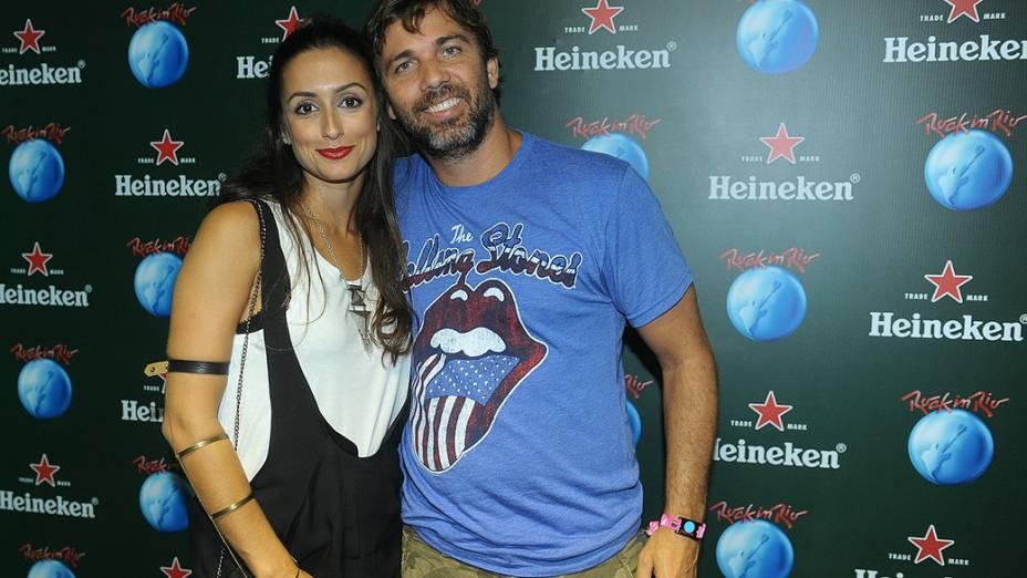 Marcelo Farias e Camila Lucciola no camarote Heineken na Cidade do Rock