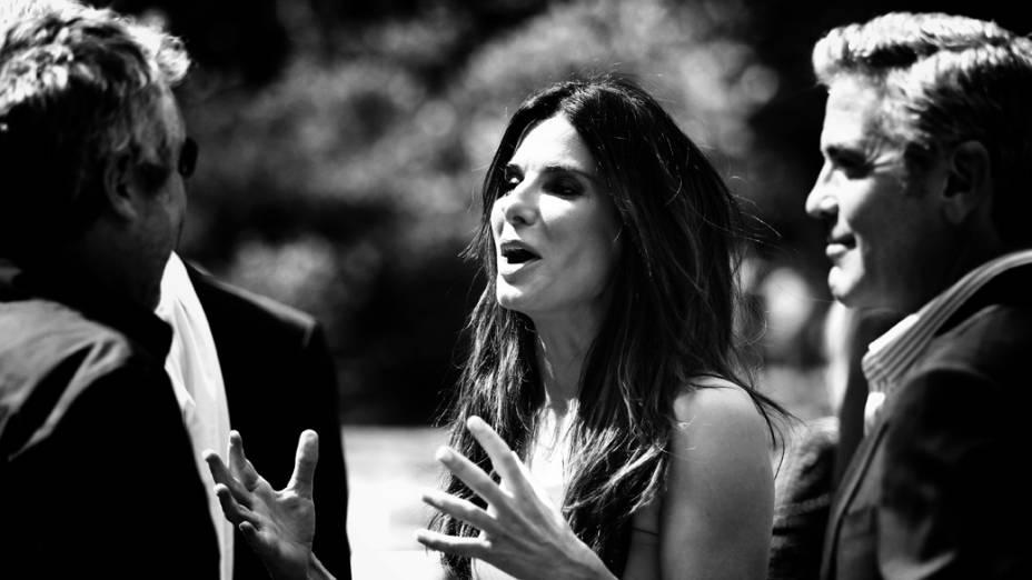 Sandra Bullock e George Clooney  em coletiva de imprensa do filme Gravidade, no 70º Festival de Veneza