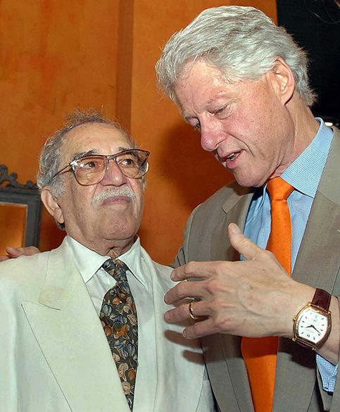 O escritor Gabriel García Márquez e o ex-preisdente americano, Bill Clinton, durante o IV Congresso Internacional da Língua Espanholaem 2007, em Cartagena na Colômbia
