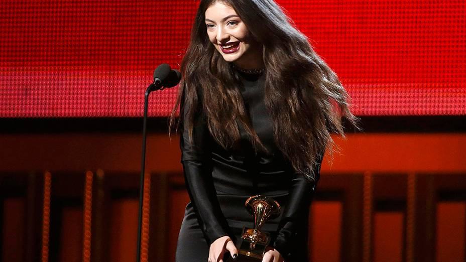 A cantora Lorde conquistou com Royals o Grammy de Melhor Performance Solo Pop e a Canção do Ano