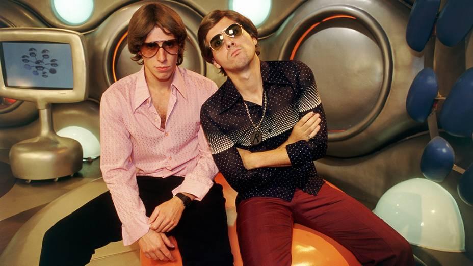Marco Antonio e Fausto Fanti, apresentadores do programa Hermes & Renato, da MTV