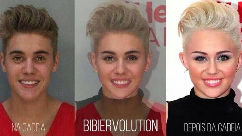 """Montagem mostra """"transformação"""" de Justin Bieber em Miley Cyrus após passagem pela cadeia"""