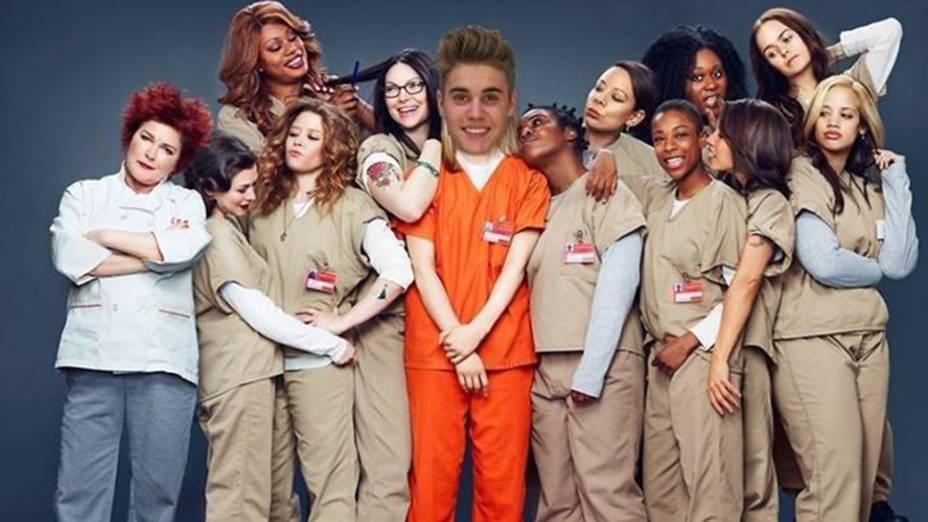 """Cantor """"posa"""" com as meninas da série Orange is the New Black, do Netflix, sobre uma prisão feminina"""