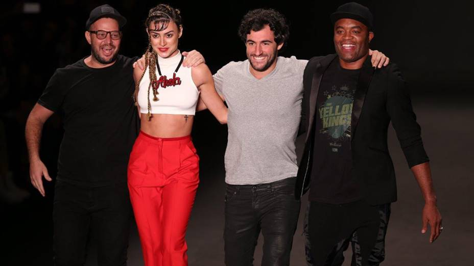 Anderson Silva,Thaila Ayala e Felipe Simão desfilam para a grifeAuslander no primeiro dia da Fashion Rio