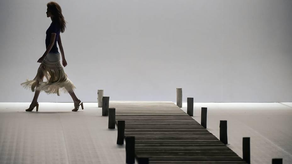A estilista Patrícia Viera apresenta nova coleção durante desfile do primeiro dia daFashion Rio