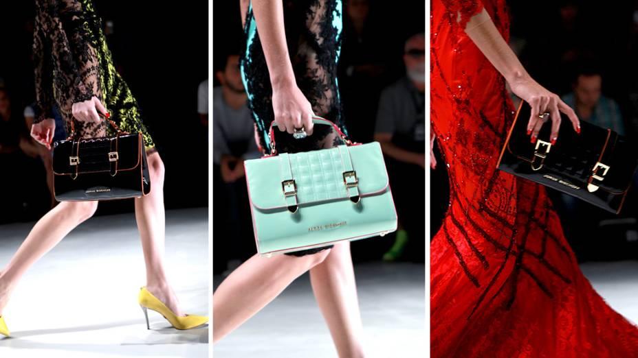 Detalhe das bolsas do desfile de Samuel Cirnansck na São Paulo Fashion Week