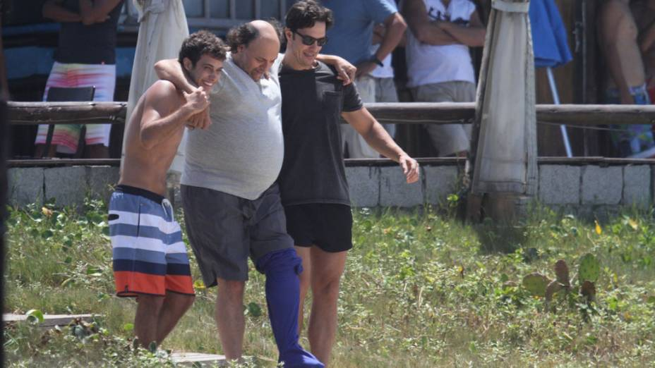 Gravação da novela Em Familia na praia da Reserva, no Rio