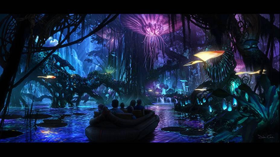 Uma viagem noturna por Pandora reproduzirá a famosa cena em que os alienígenas passeiam entre plantas luminosas