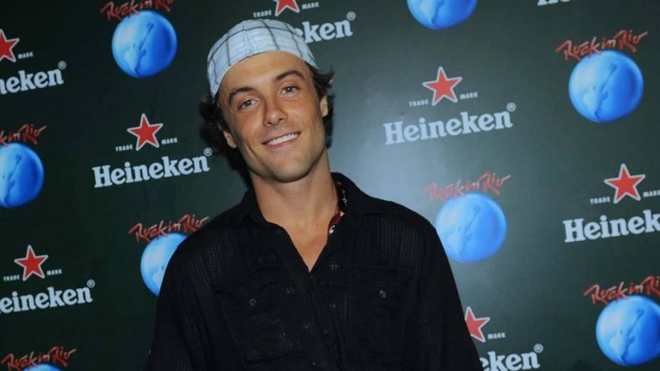 Kayky Brito no camarote da Heineken, durante o segundo dia do Rock in Rio