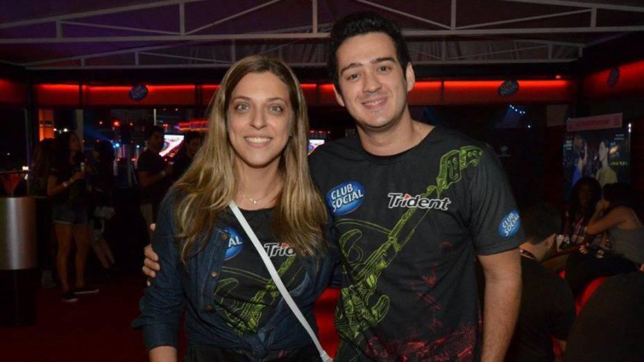 Julia Rabello e Marcos Veras no camarote da Trident na cidade do Rock