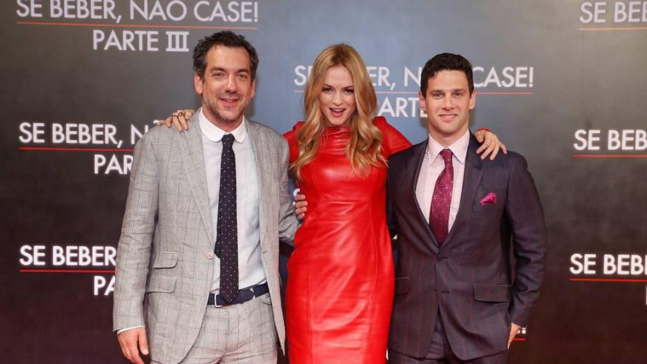 O diretor Todd Phillips, a atriz Heather Graham (a prostituta Jade) e o ator Justin Bartha (o Doug), no Cine Odeon, no Rio