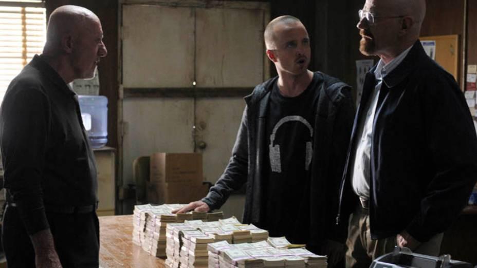 Mike (Jonathan Banks), Jesse Pinkman (Aaron Paul) e Walter White (Bryan Cranston), na quinta temporada de Breaking Bad