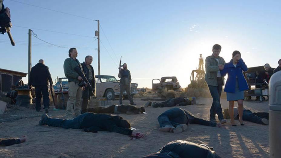 Kenny (Kevin Rankin), Jack (Michael Bowen), Todd Alquist (Jesse Plemons) e Lydia Rodarte-Quayle (Laura Fraser), na quinta temporada de Breaking Bad