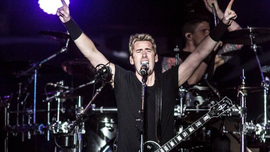 Chad Kroeger, o vocalista do Nickelback, comanda a banda no Morumbi, em São Paulo<br>