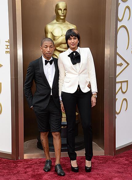 Pharrell Williams e Helen Lasichanh no tapeto vermelho do Oscar 2014
