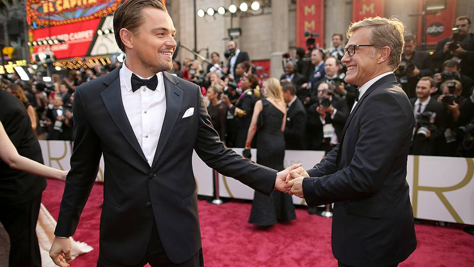 Leonardo DiCaprio e Cristoph Walts no tapete vermelho do Oscar 2014