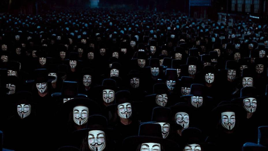 """Cena do filme """"V de Vingança"""", de James Mc Teigue.<br> <br>  <br>  <br>"""