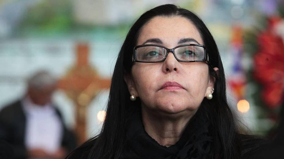 A ex-mulher de Dominguinhos, Guadalupe Mendonça, em seu velório na Assembleia Legislativa de São Paulo